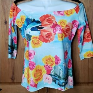 Patricia Field New York Flowers Off Shoulder Top